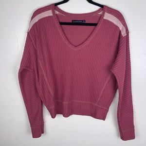Abercrombie & Fitch Long Sleeve Waffle Knit Top